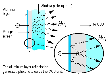 Image intensifier: phosphor screen emission mechanism